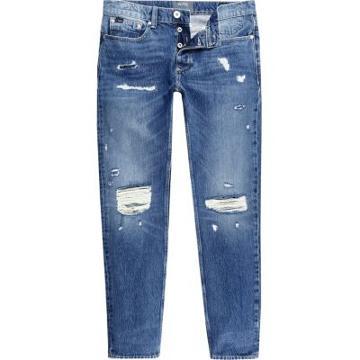 River Island Mens Sid Ripped Warp Skinny Jeans