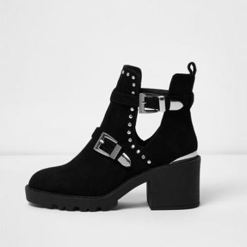 River Island Womens Stud Buckle Cut Out Ankle Boots