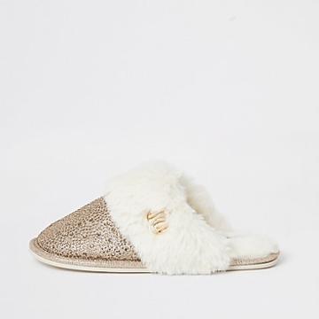 River Island Womens Gold Diamante Faux Fur Mule Slippers