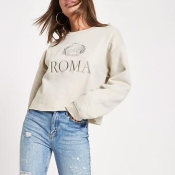River Island Womens 'roma' Print Embroided Sweatshirt