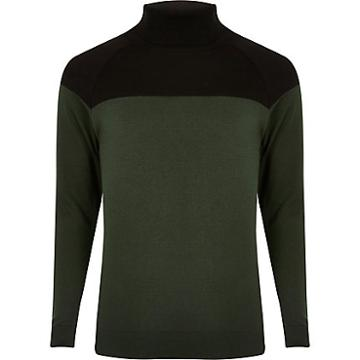 River Island Mens Slim Fit Block Roll Neck Jumper
