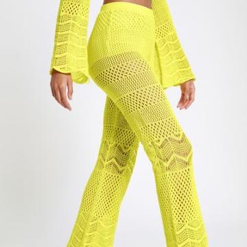 River Island Womens Crochet Knit Flared Pants