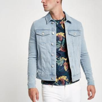 River Island Mens Wash Muscle Fit Denim Jacket