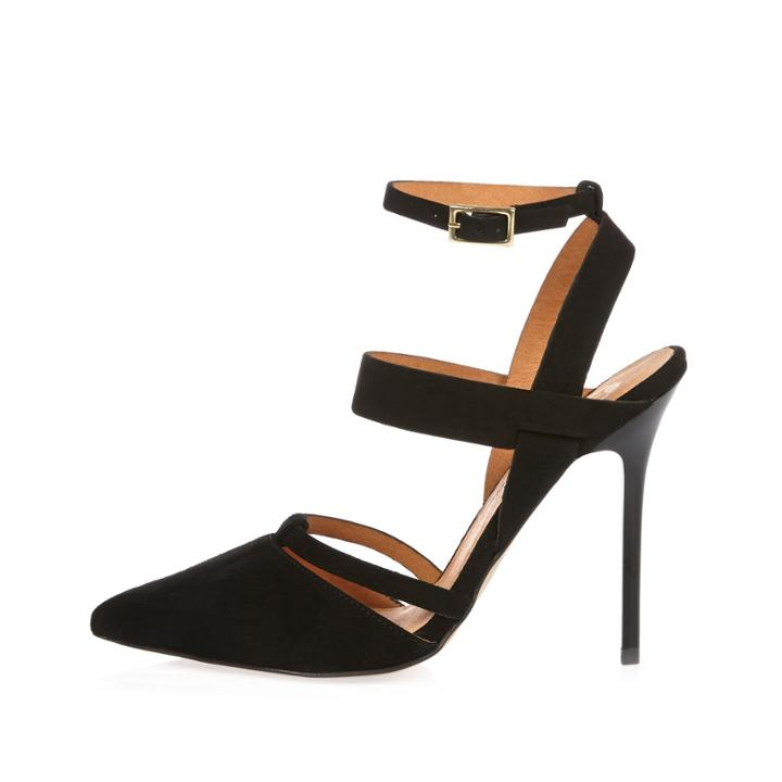 River Island Womens Leather Pointed Strappy Court Heels