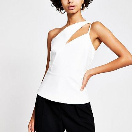 River Island Womens White One Cut Out Shoulder Fitted Top