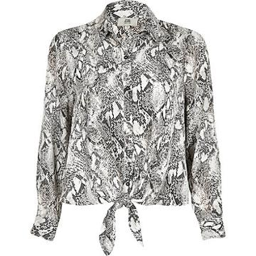 River Island Womens Petite Snake Print Tie Front Blouse