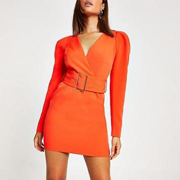 River Island Womens Long Sleeve Belted Mini Dress