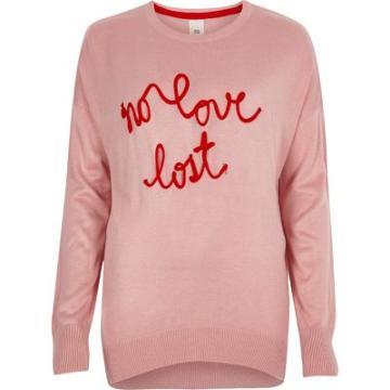 River Island Womens Knit 'no Love Lost' Slogan Jumper
