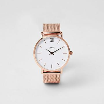 River Island Womens Rose Gold Plated Cluse Mesh Watch