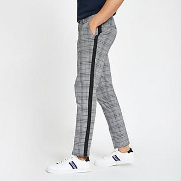 River Island Mens Check Tape Skinny Chino Trousers