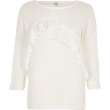 River Island Womens White Frill Cut And Sew Jumper