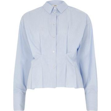 River Island Womens Stripe Poplin Frill Fitted Shirt