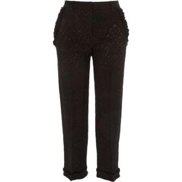 River Island Womens Jacquard Frill Hem Cropped Trousers