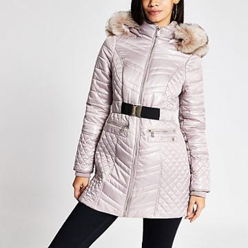 River Island Womens Champagne Satin Padded Belted Jacket