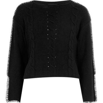 River Island Womens Cable Knit Contrast Stitch Jumper