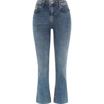 River Island Womens Denim Cropped Flare Jeans