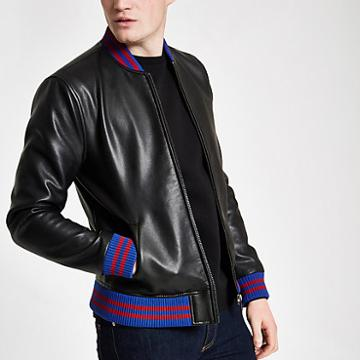 River Island Mens Faux Leather Tipped Bomber Jacket