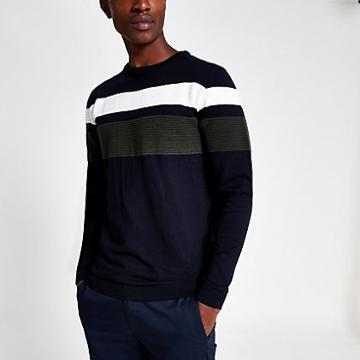 River Island Mens Slim Fit Colour Block Jumper