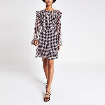 River Island Womens Print Frill Front Mini Dress