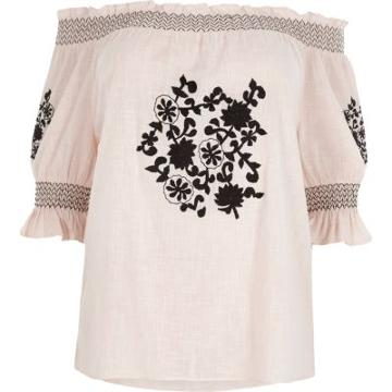 River Island Womens Plus Embroidered Shirred Bardot Top
