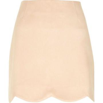 River Island Womens Scallop Hem Faux Suede Mini Skirt