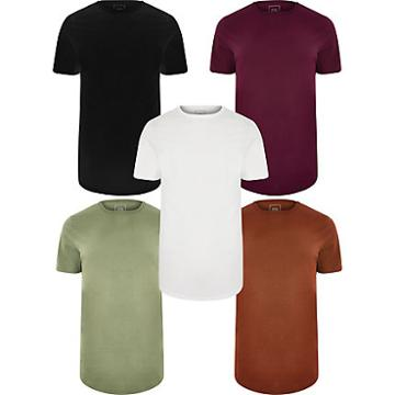 River Island Mens Multicoloured Long Line T-shirt 5 Pack