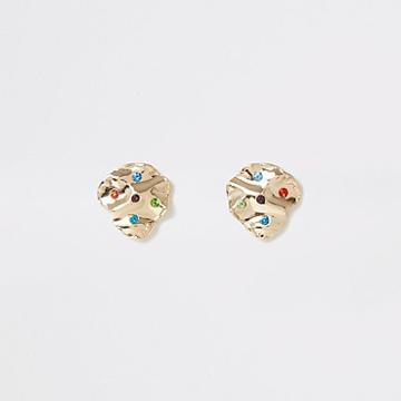 River Island Womens Gold Colour Multicolour Gem Stud Earrings