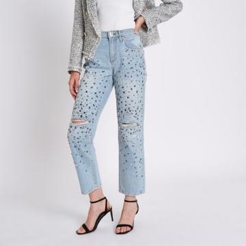 River Island Womens Jewel Embellished Boyfriend Jeans