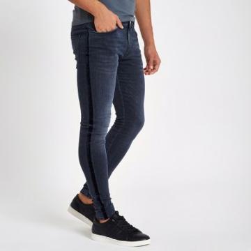 River Island Mens Velvet Stripe Spray On Skinny Jeans