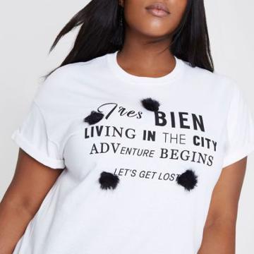 River Island Womens Plus White 'tres Bien' Pom Pom T-shirt