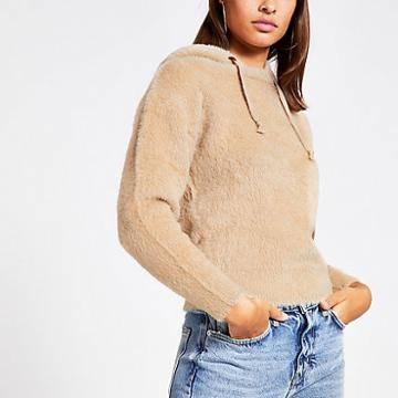 River Island Womens Long Sleeve Fluffy Knit Hoodie