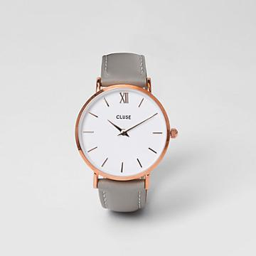 River Island Womens Rose Gold Tone Face Cluse Watch