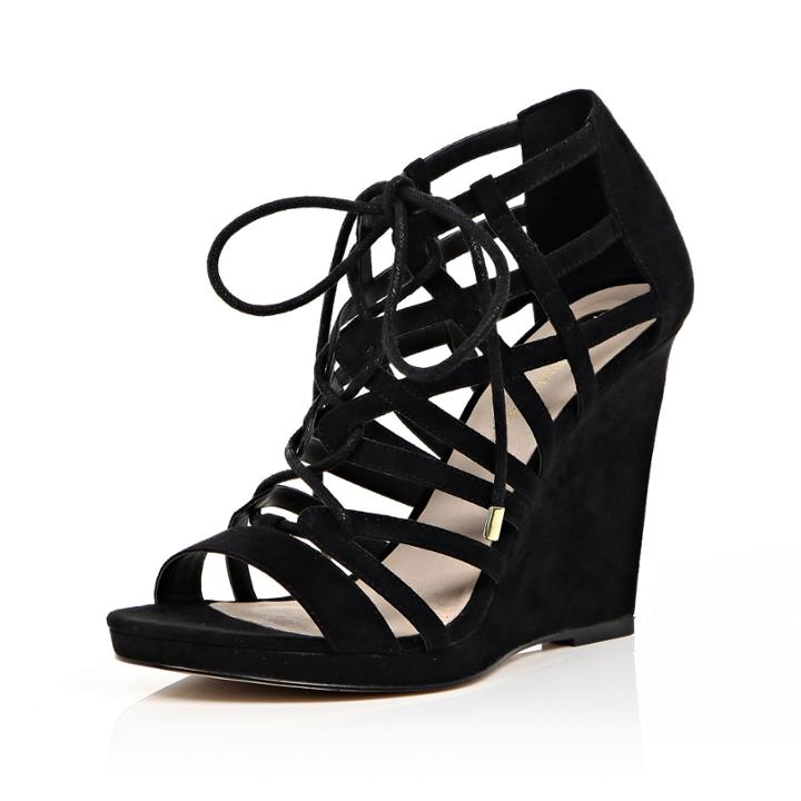 River Island Womens Lace-up Caged Wedge Heels
