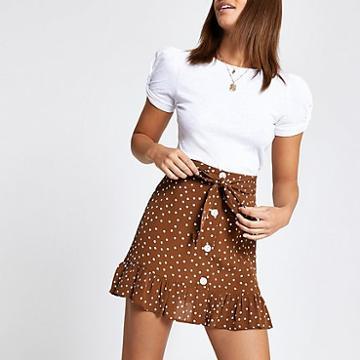 River Island Womens Spot Print Tie Waist Mini Skirt