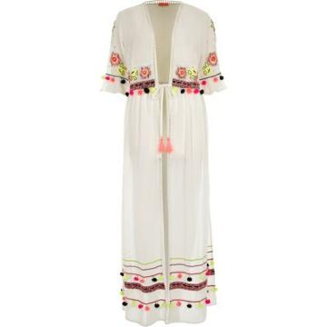 River Island Womens White Embellished Maxi Beach Cover Up