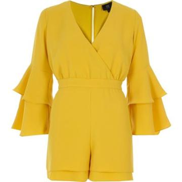 River Island Womens Petite Yellow Frill Sleeve Playsuit