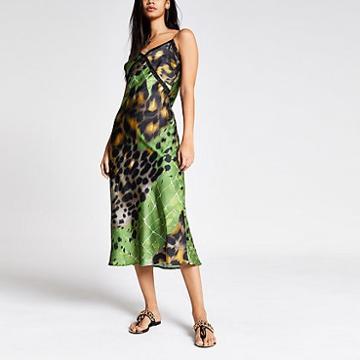 River Island Womens Printed Lace Trim Maxi Slip Dress