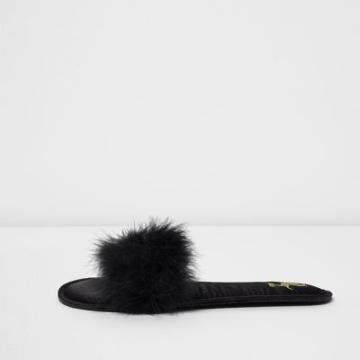 River Island Womens Fluffy Slider Slippers