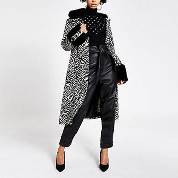 River Island Womens Zebra Print Faux Fur Trim Swing Coat