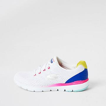 Womens Skechers White Flex Flashy Nite Sneakers