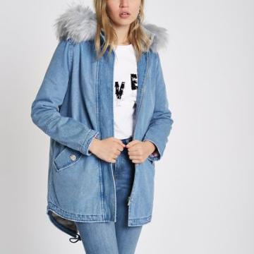 River Island Womens Faux Fur Lined Hood Denim Parka Coat
