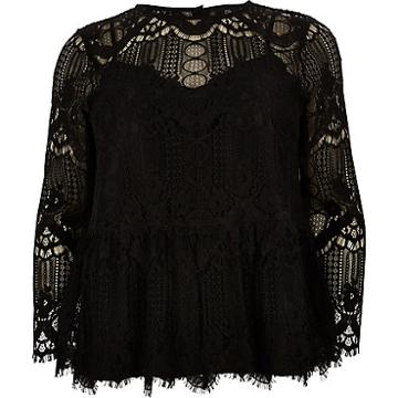River Island Womens Plus Long Sleeve Lace Top