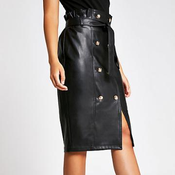 River Island Womens Faux Leather Button Front Pencil Skirt