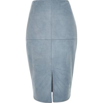 River Island Womens Faux-suede Split Front Pencil Skirt