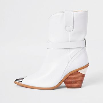 River Island Womens White Leather Western Ankle Boots