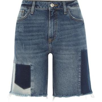 River Island Womens Patchwork Denim Boyfriend Shorts