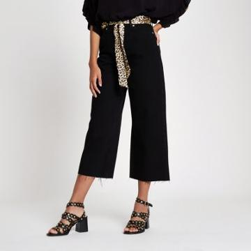 River Island Womens Alexa Belted Cropped Wide Leg Jeans