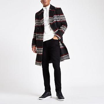 River Island Mens Brushed Check Smart Overcoat