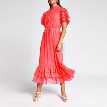 River Island Womens Neon High Neck Frill Midi Dress