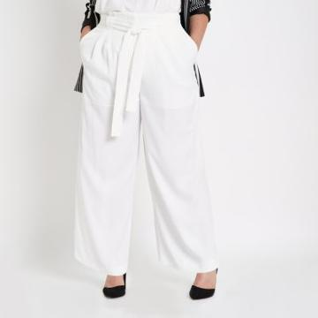 River Island Womens Plus White Paperbag Wide Leg Pants